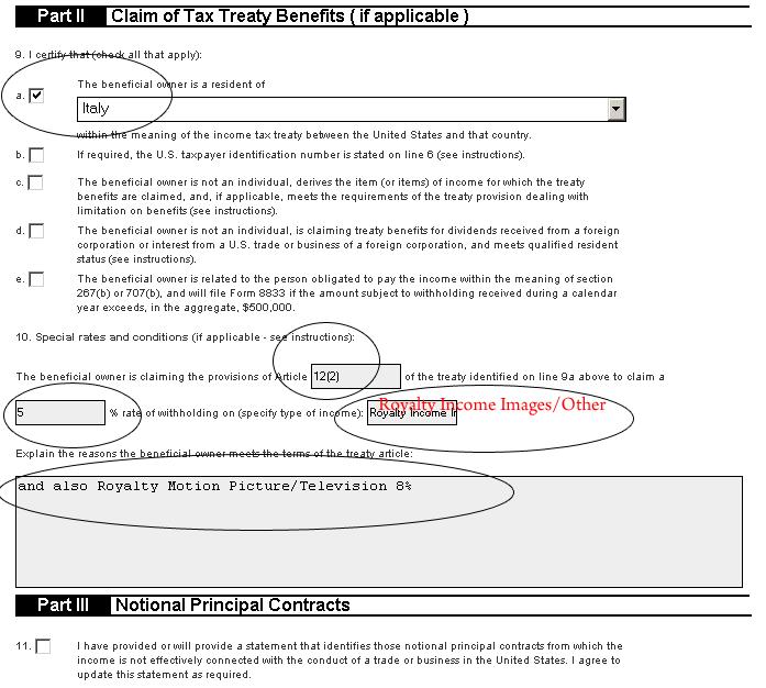 W-8BEN fotolia part II III