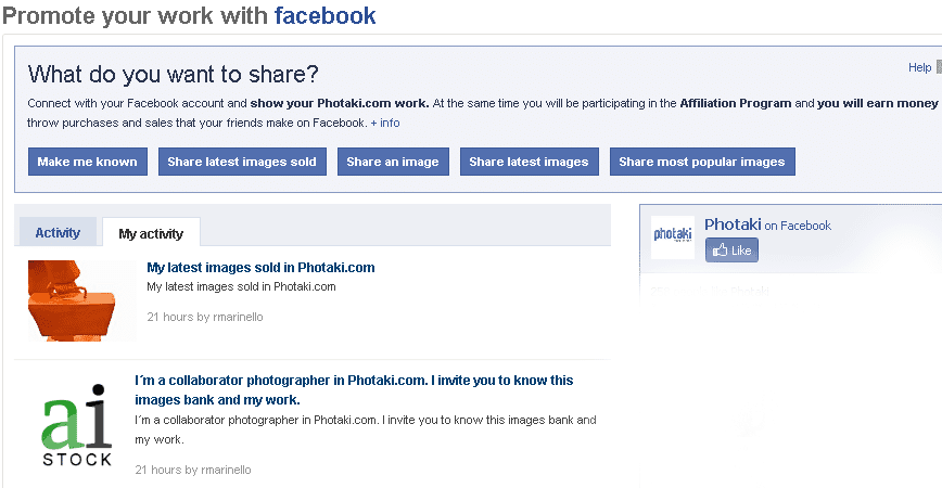 Photaki Facebook Connection
