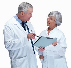 Senior doctor and nurse