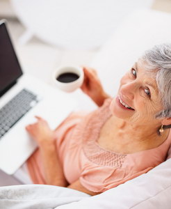 Top view of a smiling senior woman