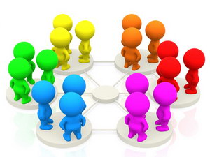 Groups of 3d people networking