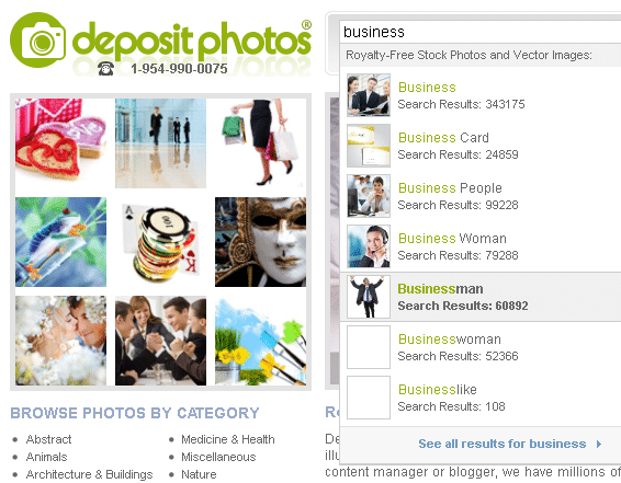 "depositphotos smart search - example ""business"""