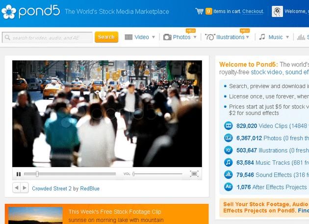 pond5 homepage