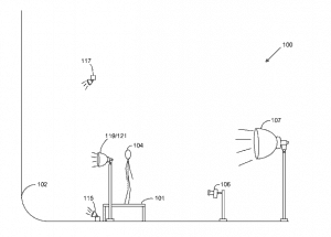 The patent describes the arrangement of the elements in the studio to make a shot