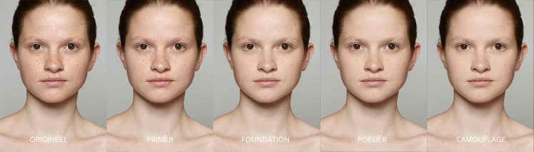 Each stage of the digital makeup application.