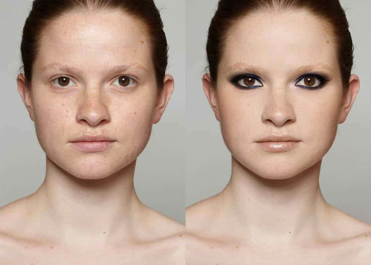 Before and After Digital Makeup Transformation