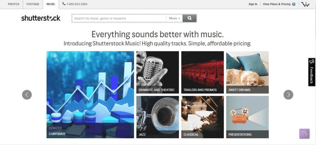 Shutterstock Music Website