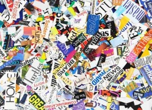 Jennifer Stone | Words clipped from magazines form a colorful background