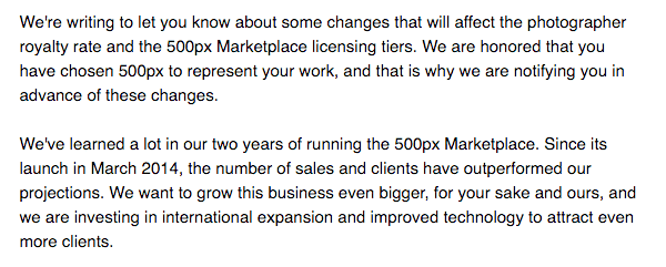 An email notification was sent out to 500px Marketplace Contributors yesterday